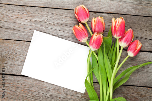 Photo  Colorful tulips and greeting card