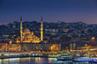 Istanbul. Image of Istanbul with Yeni Cami Mosque during twilight blue hour.