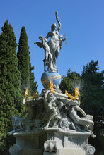 Fountain Goddess Of The Night. The Sculpture Composition With Fountains The Night (Goddess Of The Night) In Park Of Gurzuf, Crimea. Baroque Style, 19 Century.