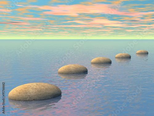 Photo Stands Zen Steps on the ocean - 3D render
