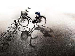 Fototapeta na wymiar Bike parked in bicycle rack