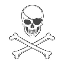 Jolly Roger With Eyepatch And Crossbones Logo Template. Evil Skull Vector. Dark T-shirt Design. Pirate Insignia Concept