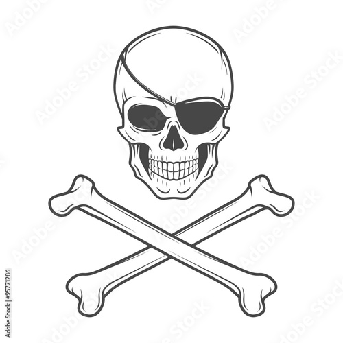 Photo  Jolly Roger with eyepatch and crossbones logo template