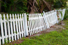 Old Rickety Fence In Need Of Painting, Fixing Or Replacing.