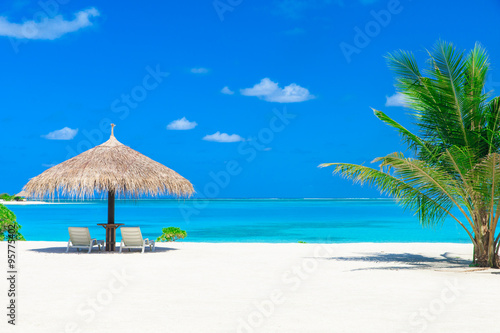 Poster Tropical plage sea in Maldives