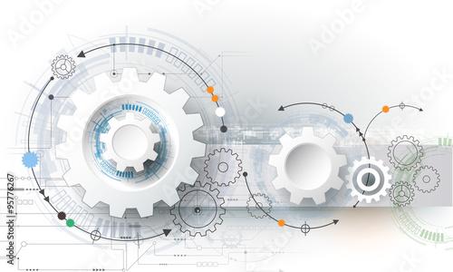 Fototapeta Vector illustration gear wheel, hexagons and circuit board, Hi-tech digital technology and engineering, digital telecom technology concept. Abstract futuristic on light blue color background obraz