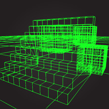 Background With Stairs In The Style Of An Old Green Computer Gra