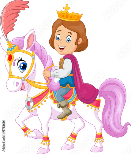 Cartoon handsome prince riding horse isolated on white background