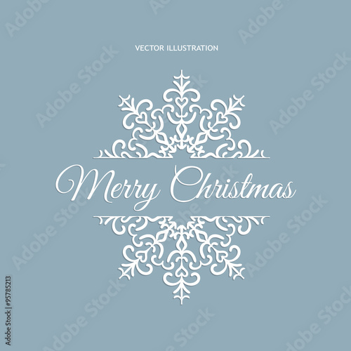 Winter Card Merry Christmas Banner Blue Color Isolated On The Frosty Background With Snowflakes Vector Ilration Eps 10