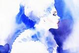portret kobiety, streszczenie akwarela. moda tło - 95786448