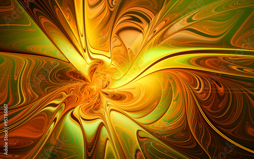 abstract fractal, green-yellow wavy liquid paint