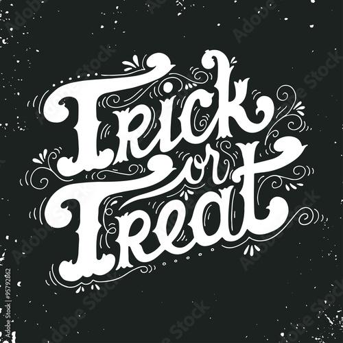 Ingelijste posters Halloween Trick or treat. Halloween poster with hand lettering.