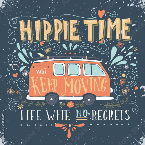 Poster  Vintage hippie time print with a mini van, decoration and letter