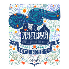 Hand Drawn Vintage Label With Amsterdam Canal Houses In Van Gogh