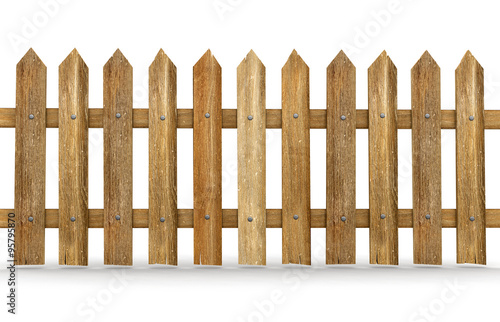 Láminas  Wooden fence (clipping path included)