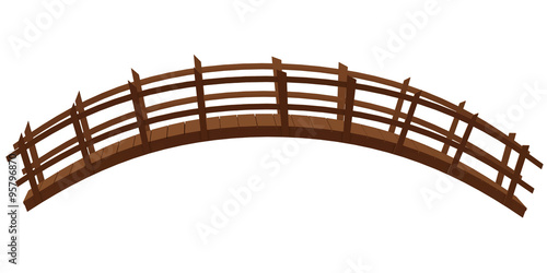Deurstickers Brug wooden bridge isolated on the white