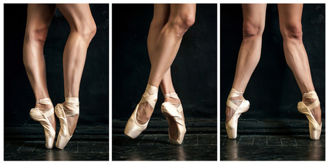 Fototapeta Collage of classic ballerina's legs in pointes on wooden floor