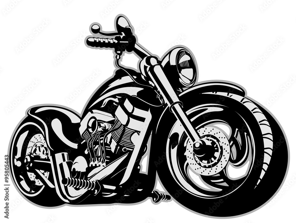 Fototapeta Vector Cartoon Motorbike