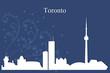 Toronto city skyline silhouette on blue background