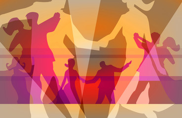 Ballroom dancing dance party colorful background.