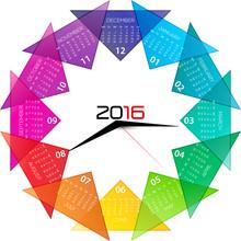 2016 Calendar With Clock Illus...