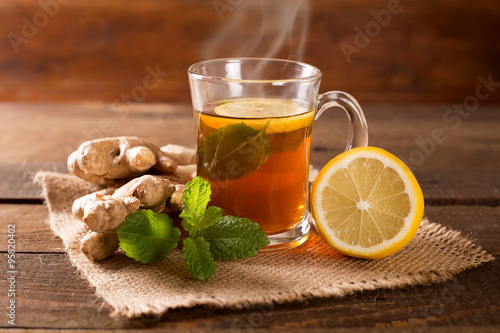 Deurstickers Thee ginger tea