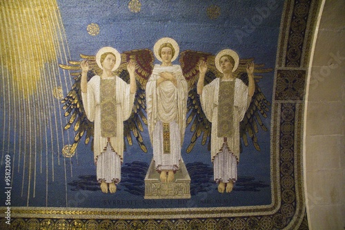 Photo  Fresco Fragments in Transfiguration Church,Israel