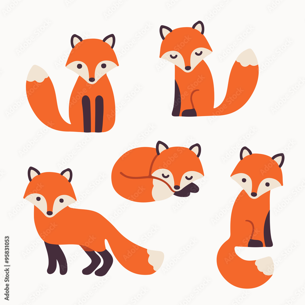 Fototapety, obrazy: cute fox collection