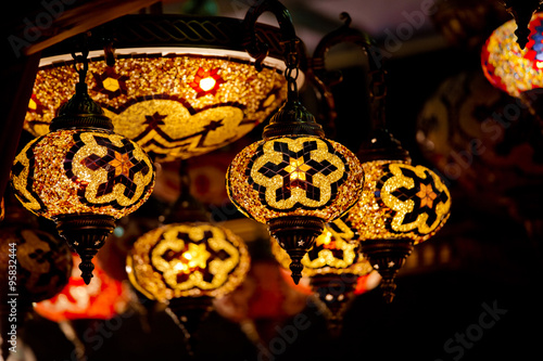 Photo  Turkish decorative lamps lamps on Grand Bazaar at Istanbul, Turk