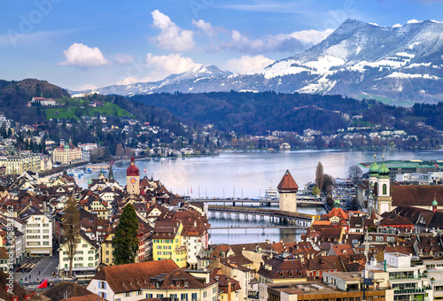 Fotografie, Obraz  Lucerne, Switzerland, aerial view of the old town, lake and Rigi mountain