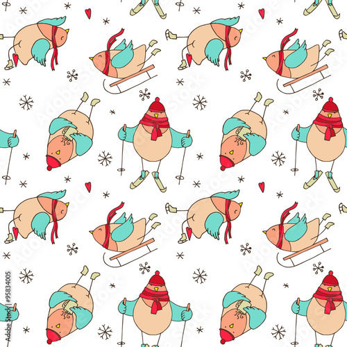 Cotton fabric Christmas birds - vector seamless pattern