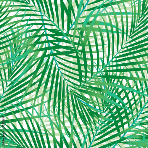 Fotobehang Tropische bladeren Green palm leaves seamless pattern.