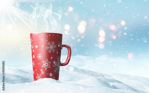 Printed kitchen splashbacks Light blue Christmas mug nestled in snow