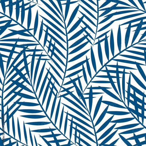 Naklejka - mata magnetyczna na lodówkę Niebieskie tropikalne liście palm