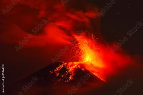 Tungurahua Volcano At Night, Ecuador