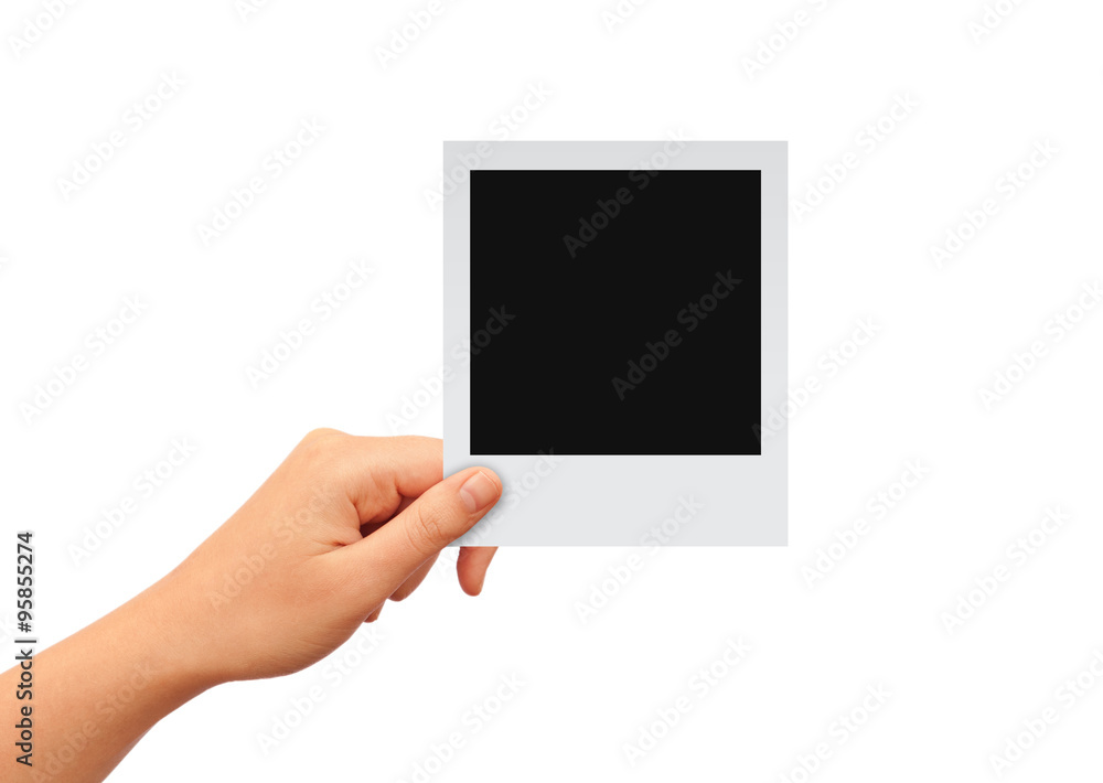 Fototapety, obrazy: Hand with blank photo card