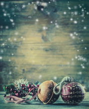 Christmas Time. Jingle Bells Pine Branches Christmas Decoration In The Snow Atmosphere.