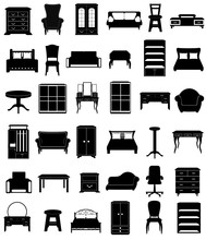 Set Icons Furniture Black Silh...
