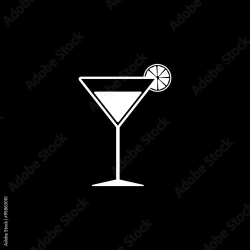 Photo  The cocktail icon. Alcohol symbol. Flat