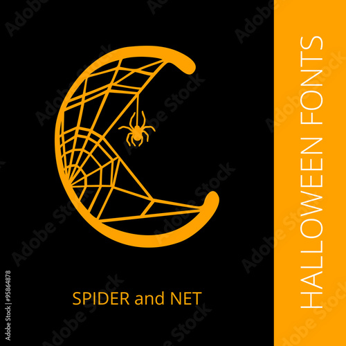 Halloween alphabet letter C consist of spider and net - Buy