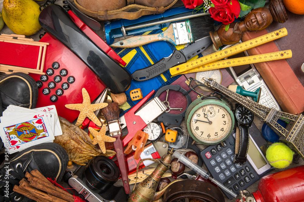 Fotografia  fondo di oggetti in caos
