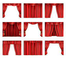 Theatre Curtain Icons Set