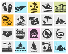 Travel Vector Logo Design Template. Beach, Rest Or Vacation, Holiday Icons