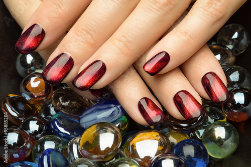 Fototapeta Beautiful woman's nails with nice stylish manicure