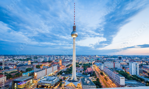 Photo  Berlin skyline with TV tower at twilight, Germany
