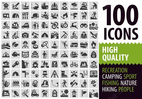 Obraz na płótnie hiking set black icons. signs and symbols