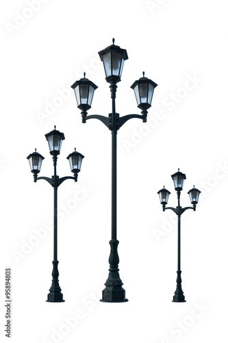 old vintage street lamp post lamppost light pole isolated on whi