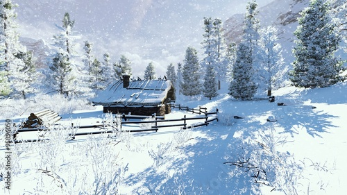 Foto-Leinwand ohne Rahmen - Daytime winter scene. Cozy little cabin among snowy firs high in mountains at snowfall. (von marsea)