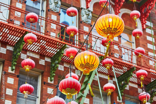 Red Chinese lanterns in Chinatown of San Francisco