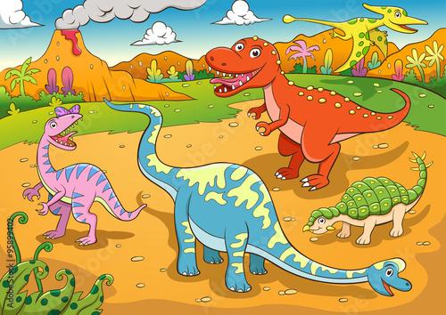 ilustracja-kreskowka-slodkie-dinozaury